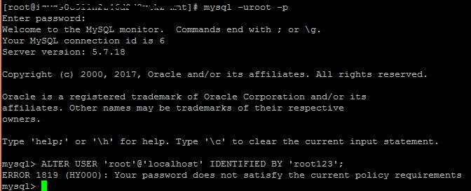 mysql设置密码太简单提示